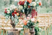 29 lush fall backyard wedding decor with beautiful blush, deep red, burgundy and orange blooms and cascading greenery is wow