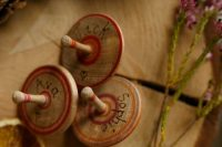 30 traditional wooden spinning tops made from a solid piece of recycled beechwood and are handcrafted are great