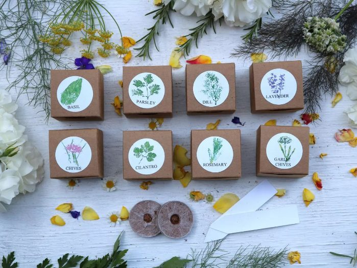 a herb kit with everything from basil to laveder, with instructions how to grow them is ideal for any eco-friendly wedding