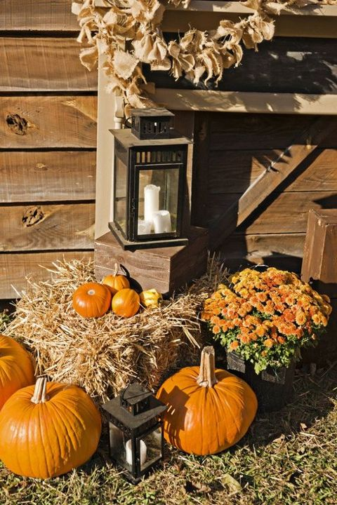 traditional rustic fall wedding decor with bright pumpkins, potted blooms, hay, candle lanterns and a burlap garland