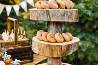 40 pretty wedding appetizer serving with a thick slice stand, apples, donuts and cider is a lovely idea for a cozy and homey wedding