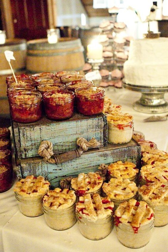 a lovely pie bar is a great alternative or addition to a usual wedding cake and feels and looks very homey