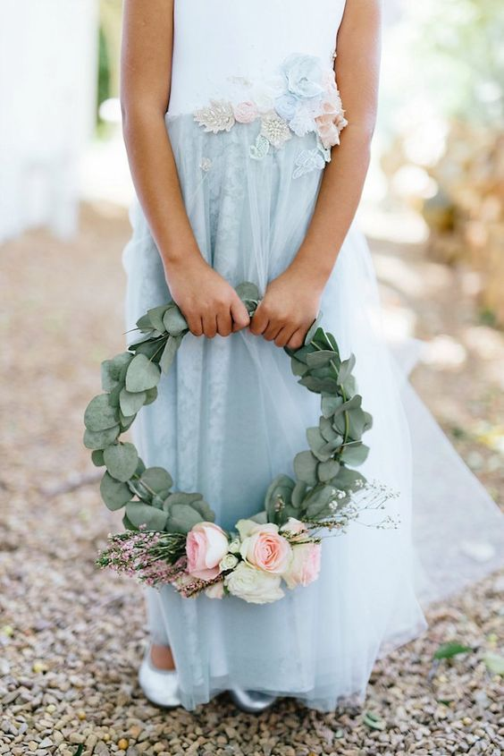 a cool hoop wedding bouquet with eucalyptus, blush roses, waxflower is a lovely idea for a romantic wedding