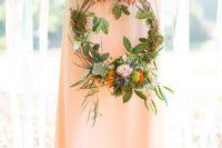 a cool woodland wedding bouquet alternative