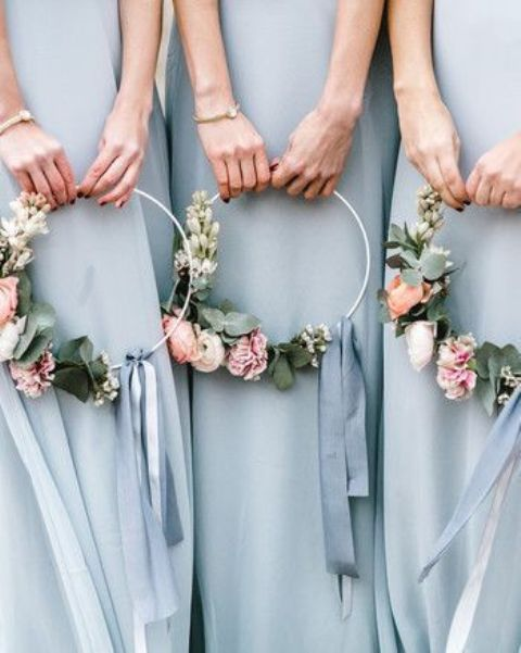chic pastel hoop wedding bouquets with pastel and white blooms and greenery are great for being carried by bridesmaids