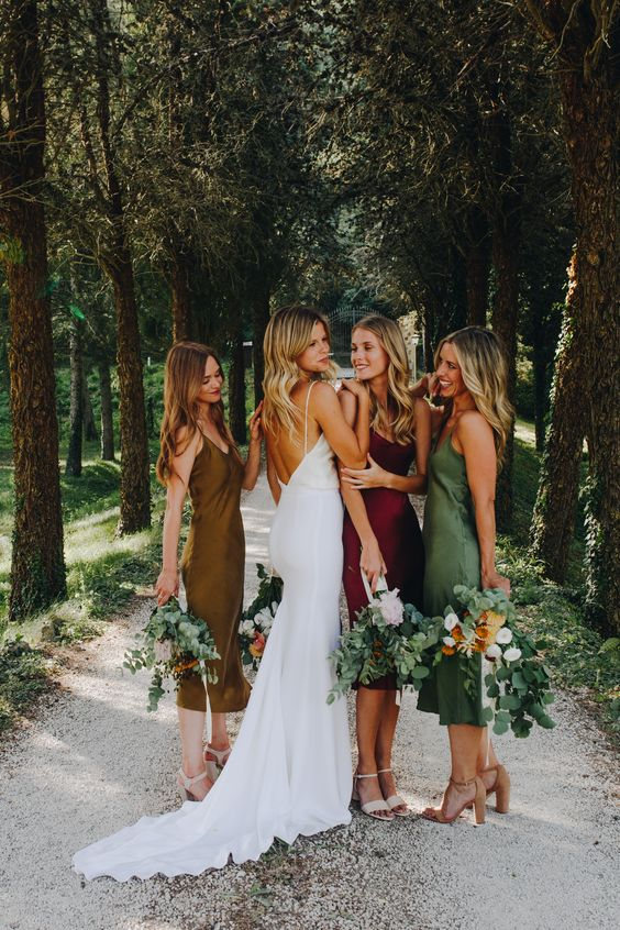 cool mustard, green and burgundy slip midi bridesmaid dresses are amazing for a bright fall wedding, it's a cool and bold idea