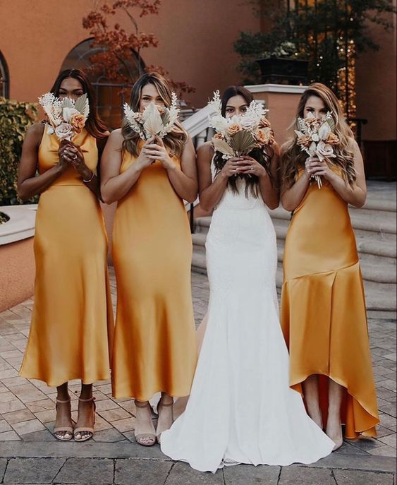 gorgeous gold midi slip bridesmaid dresses including a high low one is a cool idea for a summer or fall wedding
