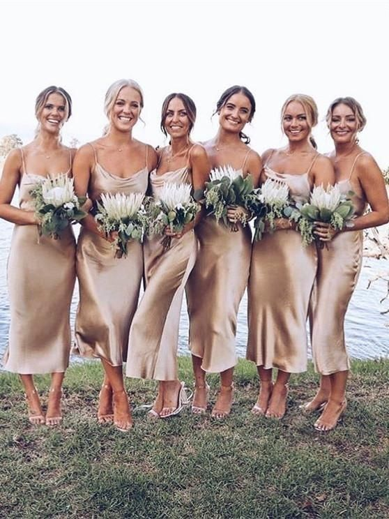 lovely neutral slip midi bridesmaid dresses with cowl necks and nude heels are amazing for a spring or summer wedding