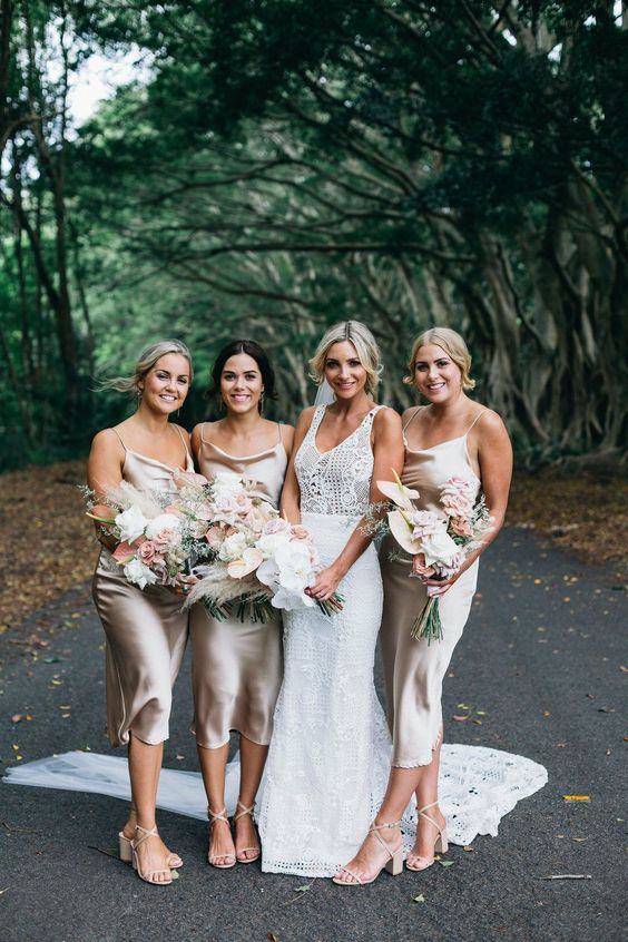 very elegant pearly slip midi bridesmaid dresses with cown neckls and lace up block heels are amazing for spring or summer
