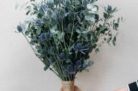 02 a fabulous wedding bouquet of eucalyptus and blue thistles is a stylish idea for a non-floral minimalist wedding