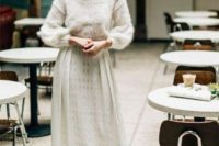 03 a casual winter bridal look with a white sweater, a lace maxi skirt and a headband is pretty and very cool