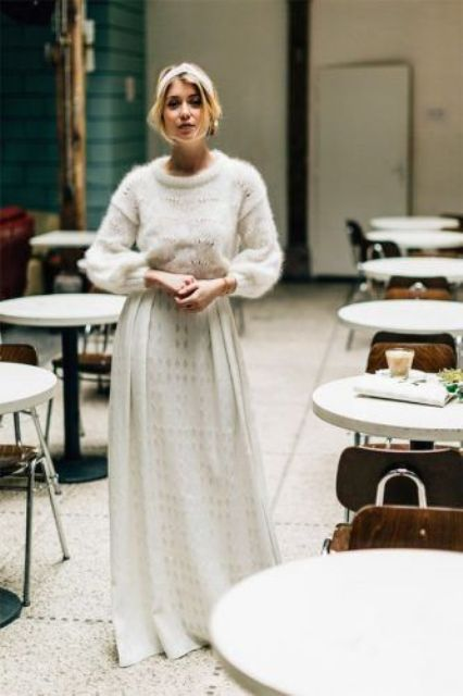 a casual winter bridal look with a white sweater, a lace maxi skirt and a headband is pretty and very cool