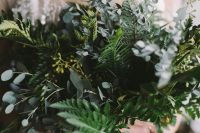 03 a fern and eucalyptus wedding bouquet is a lovely and textural idea that will match a minimalist bridal look easily