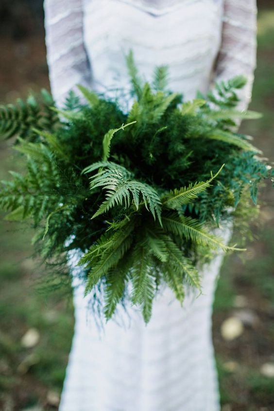 an all-fern wedding bouquet is ideal for a non-floral wedding, it has no blooms but plenty of texture and a cool shape