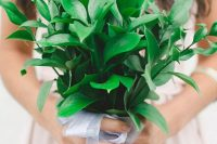 05 a pretty and simple greenery wedding bouquet with a cute ribbon bow looks very cool and very fresh