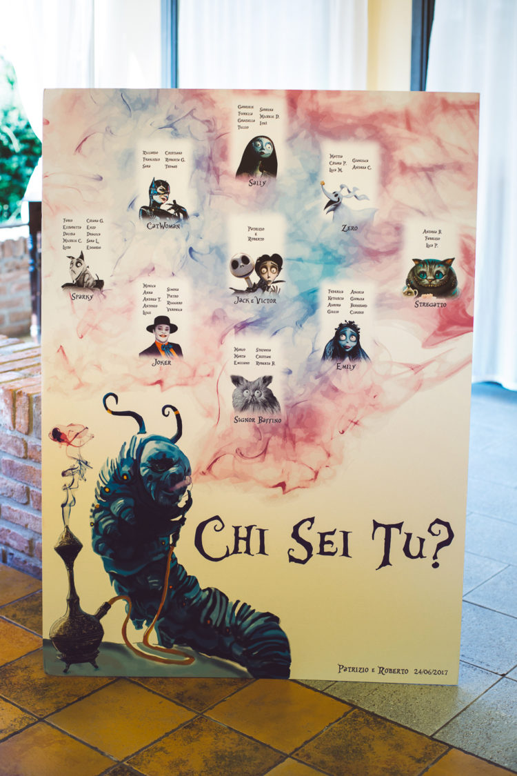 a gorgeous wedding seating plan inspired by Tim Burton movies is a fantastic DIY idea to rock