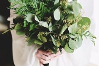 07 a lush eucalyptus and fern wedding bouquet features cool texture and will catchy an eye, though there are no blooms at all