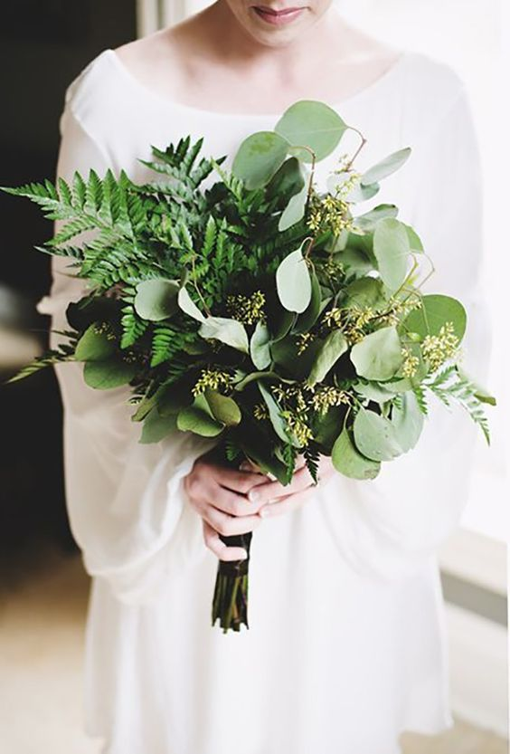 a lush eucalyptus and fern wedding bouquet features cool texture and will catchy an eye, though there are no blooms at all