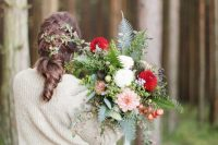 07 a neutral slouchy sweater with a touch of sparkle over the wedding dress for a woodland bridal look