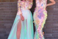 08 a fully iridescent mermaid wedding dress with a plunging neckline and an iridescent off the shoulder top plus an iridescent tulle skirt with a slit