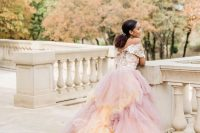 09 an iridescent wedding dress with purple and peachy touches and a shiny off the shoulder bodice is a beautiful solution