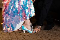 12 an iridescent wedding dress paired up with matching iridescent wedding shoes for a super bold and outstanding bridal look
