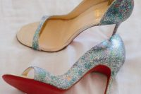 15 fabulous iridescent wedding shoes with high heels and open toes are amazing to accent your bridal look right