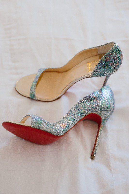fabulous iridescent wedding shoes with high heels and open toes are amazing to accent your bridal look right