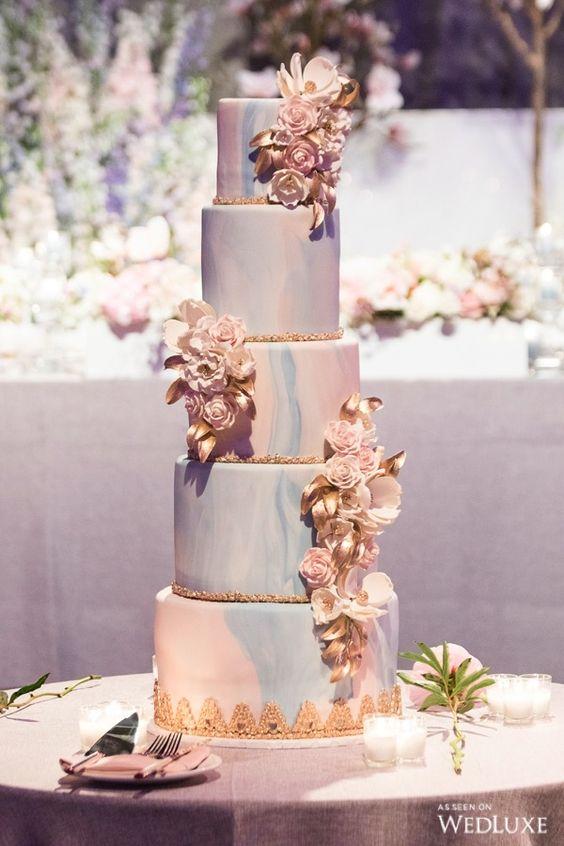 a cute watercolor wedding cake