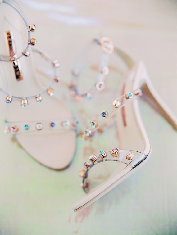 fantastic sheer wedding shoes decorated with iridescent rhinestones look very ethereal and very stylish