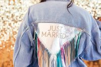 a stylish denim jacket is a cool addition to a bridal outfit