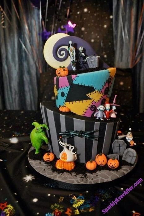 a bright and fun Nightmare Before Christmas weddign cake with all the themed decor on it and around it is fabulous
