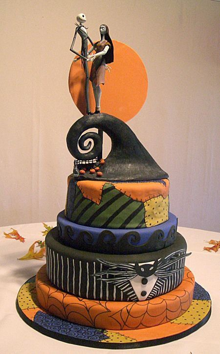 a colorful Nightmare Before Christmas wedding cake in bold shades is a fun idea for a themed wedding with much color