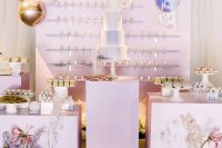 20 a pretty iridescent wedding sweets bar with ice cream, a marble cake, lilac stands and beautiful iridescent floral arrangements for decor