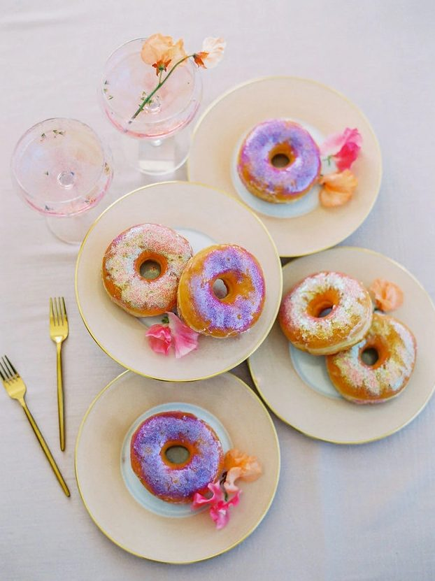 iridescent glazed donuts are a fantastic wedding food idea, they are an alternative to a wedding cake