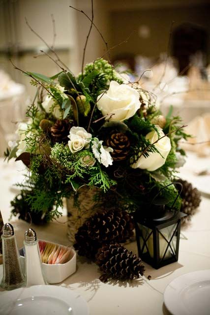 a cute woodland wedding centerpiece