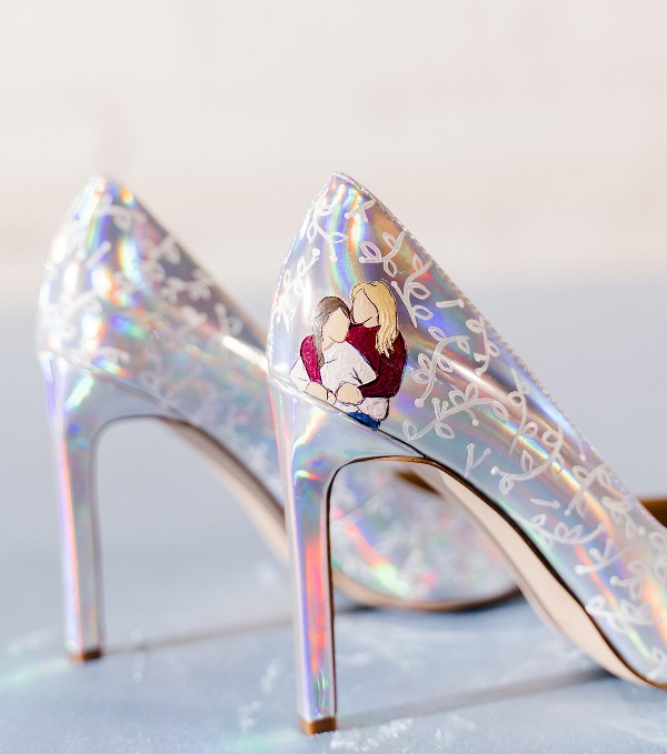 lovely iridescent wedding shoes with painted floral patterns and the couple to personalize them a bit