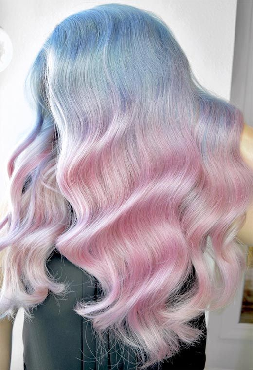 fantastic iridescent long wavy hair is a catchy and bold idea for a wedding, try such a play of colors