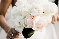 27 a white and blush rose wedding bouquet is a one flower combo that looks more eye-catchy as it includes two different shades