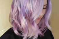 28 jaw-dropping iridescent wedding hair with a bit of waves is a lovely idea for a modern and bold bridal look
