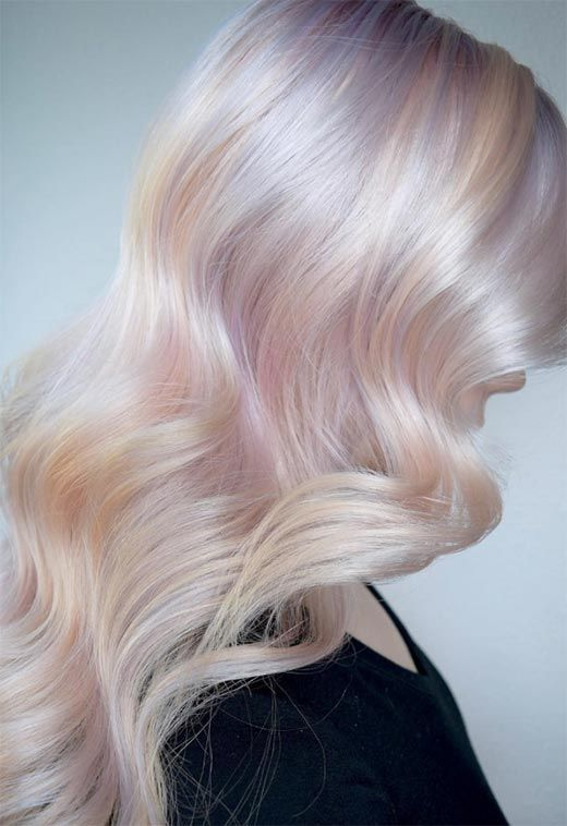 long iridescent pearl hair with waves are a fantastic idea for a modern iridescent bride, it's a bold color statement