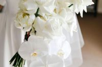 30 a sophisticated white rose and orchid wedding bouquet is a gorgeous idea for a modern or minimalist bride