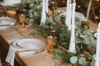 a greenery winter wedding table runner