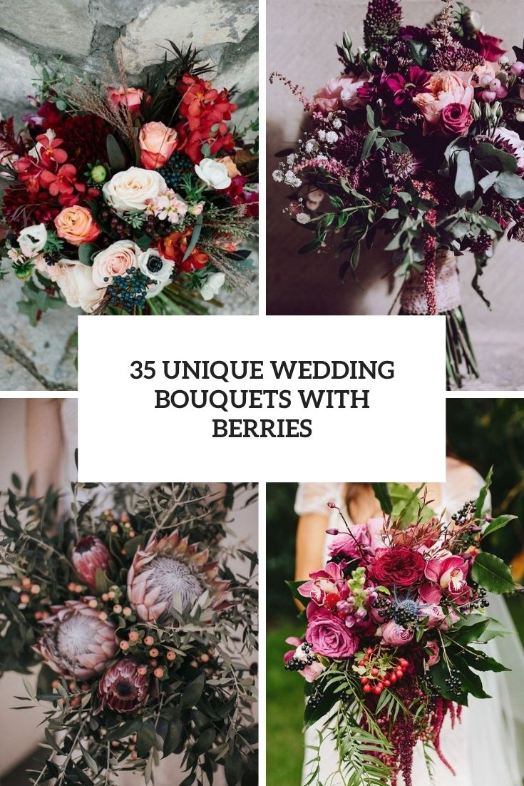 unique wedding bouquets with berries cover