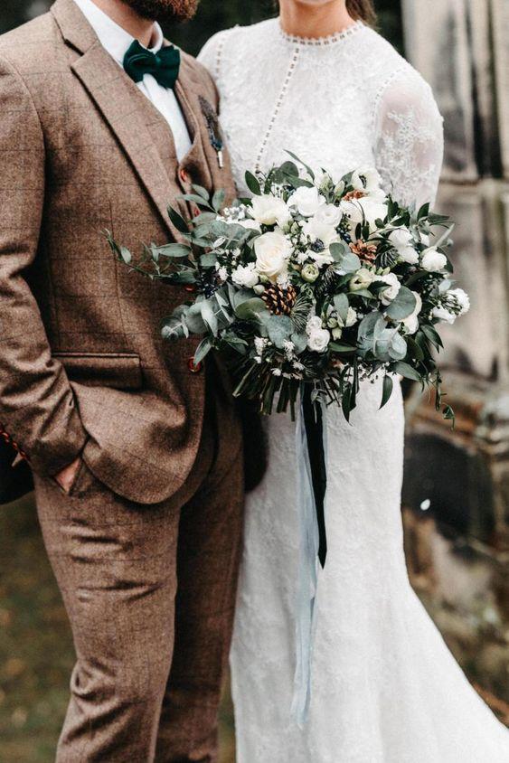 a cute winter wedding bouquet