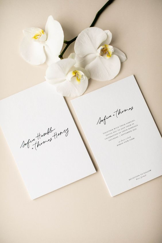 a chic and romantic minimalist wedding invitation suite with black calligraphy and lettering is a lovely idea for your minimal wedding