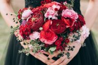 a cute fall wedding bouquet with berries