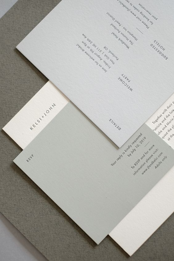 a minimalist wedding invitation suite in undertones, with modern and simple lettering is a very cool solution for a neutral minimal wedding