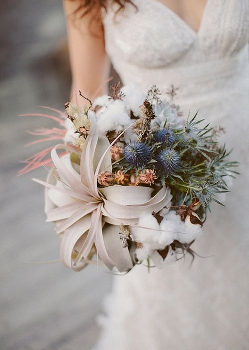 an organic ball-shaped winter wedding bouquet with air plants, blue thistles, dried blooms, foliage and cotton for a coastal bride