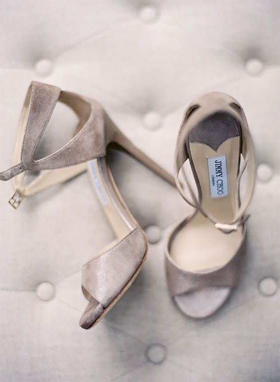elegant and refined greige wedding shoes with cutouts and ankle straps are adorable for a fall or summer wedding